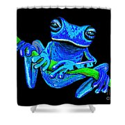 Totally Blue Frog On A Vine Shower Curtain