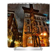 Totem In The City Shower Curtain