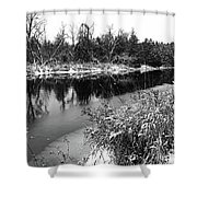 Touch Of Winter Black And White Shower Curtain