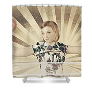 Tough Vintage Boxing Girl Winning Round In Gloves Shower Curtain