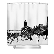 Toulouse Skyline-black Shower Curtain