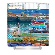 Tour Boats In Port Of Valparaiso-chile Shower Curtain