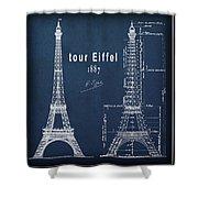 Tour Eiffel Engineering Blueprint Shower Curtain