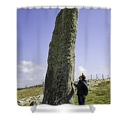 Tourist Admires The Trushal Stone Shower Curtain