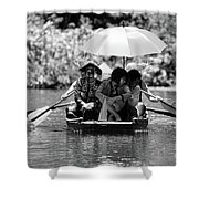 Tourist Boating Thru Tam Coc Bw Shower Curtain