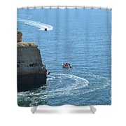 Tourist Boats And Cliffs In Algarve Shower Curtain