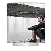 Tourist Seated At Dove Lake Lookout In Tasmania Shower Curtain