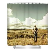 Tourist With Backpack Looking Afar On Mountains Shower Curtain