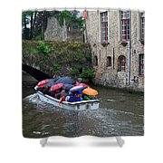 Tourists With Umbrellas In A Sightseeing Boat On The Canal In Bruges Shower Curtain