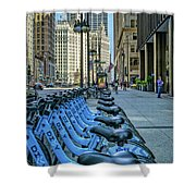 Towards Wrigley Building Shower Curtain