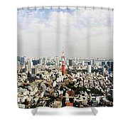 Tower And City View Shower Curtain by Bill Brennan - Printscapes