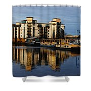 Tower Apartments In A Sunset Shower Curtain