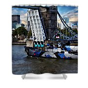 Tower Bridge And Boat Shower Curtain