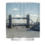 Tower Bridge And Hms Belfast 3 Shower Curtain