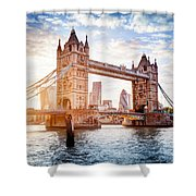 Tower Bridge In London, The Uk At Sunset. Drawbridge Opening Shower Curtain