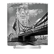 Tower Bridge Vertical Black And White Shower Curtain