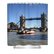 Tower Bridge With Canary Wharf In The Background Shower Curtain