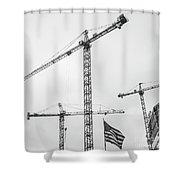 Tower Cranes Bw Construction Art Shower Curtain