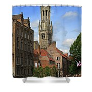 Tower Of The Belfrey From The Canal At Rozenhoedkaai Shower Curtain