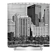 Tower Over Pittsburgh In Black And White Shower Curtain