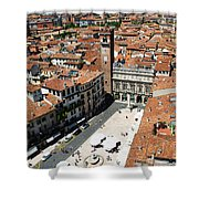 Tower View Of Piazza Delle Erbe In Verona Italy Shower Curtain
