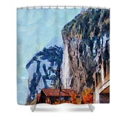 Towering Cliffs And Houses Shower Curtain