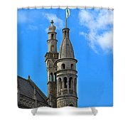 Towers Of The Town Hall In Bruges Belgium Shower Curtain