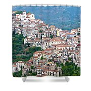 Town Clinging To A Hill Top In Southern Italy Shower Curtain
