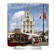 Town-hall And Marketplace Shower Curtain