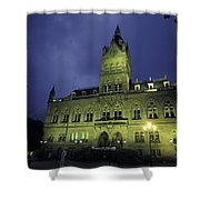 Town Hall At Night In Manchester Shower Curtain