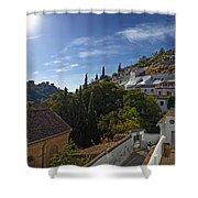 Town In A Valley, Sacromonte, Granada Shower Curtain