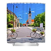 Town Of Bicycles Koprivnica Street View Shower Curtain