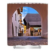 Town Of Kastelruth In Alps Street View Shower Curtain