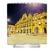 Town Of Ptuj Historic Main Square Evening View Shower Curtain