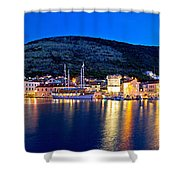Town Of Vis Waterfront Evening Panorama Shower Curtain