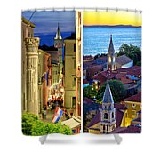 Town Of Zadar Evening And Sunset Travel Collage Shower Curtain