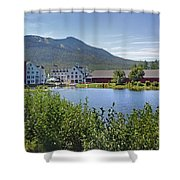 Town Square By The Pond At Waterville Valley Shower Curtain