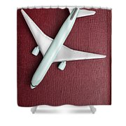 Toy Airplane Over Red Book Cover Shower Curtain