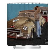 Toy Car Holiday Shower Curtain