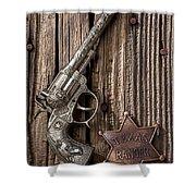 Toy Gun And Ranger Badge Shower Curtain