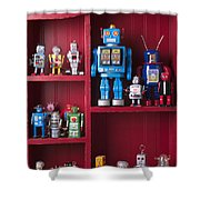 Toy Robots On Shelf  Shower Curtain by Garry Gay