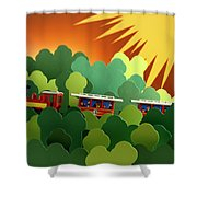 Toy Train Shower Curtain