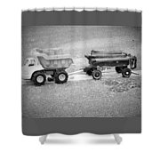 Toy Truck In Black And White Shower Curtain
