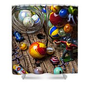 Toys And Marbles Shower Curtain by Garry Gay