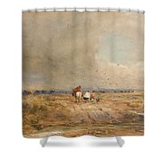 Track On A Windy Day Shower Curtain