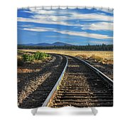 Tracks At Crater Lake Shower Curtain