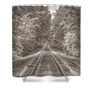 Tracks Bw Shower Curtain