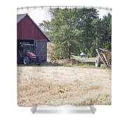Tractor At A Wheat Field Shower Curtain