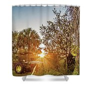 Tractor At Sunset Shower Curtain