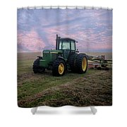 Tractor In A Field - Early Morning Shower Curtain